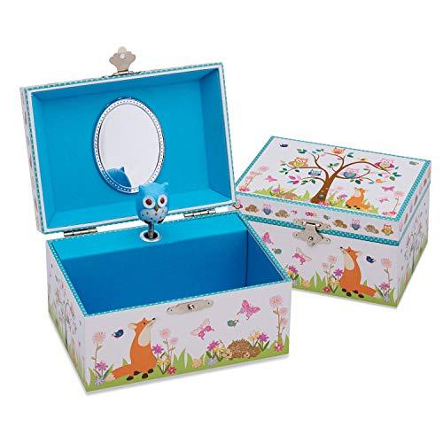 Lucy Locket - Joyero infantil musical «Animales del Bosque» - Bonita caja de música con búho bailarín para niños
