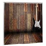 Wdoci Rideau de Douche,Guitare électrique Maison en Bois,Rideau de Douche Imperméable avec Crochets 180cmx180cm