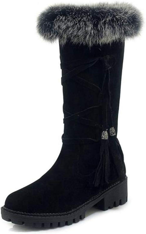 NOMIMAS Women's Mid-Calf Boots Side Zipper Fringes Winter Fur shoes Fashion Vintage Fuzzy Low Heels