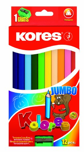 Kores Kolores Jumbo Colored Pencils, Thick, Triangular (Box Of 12 Colors)