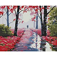 クロスステッチ、Daeum Red Forest Paint by Number Kits 16 x20インチキャンバスDIYオイルペインティング