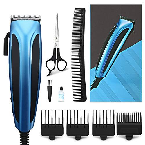 Tondeuse Cheveux Hommes Filaire, Hizek Coffret Cheveux avec 4 Sabots, Ciseaux de Coiffeur, peigne, Moteur Pro Puissant