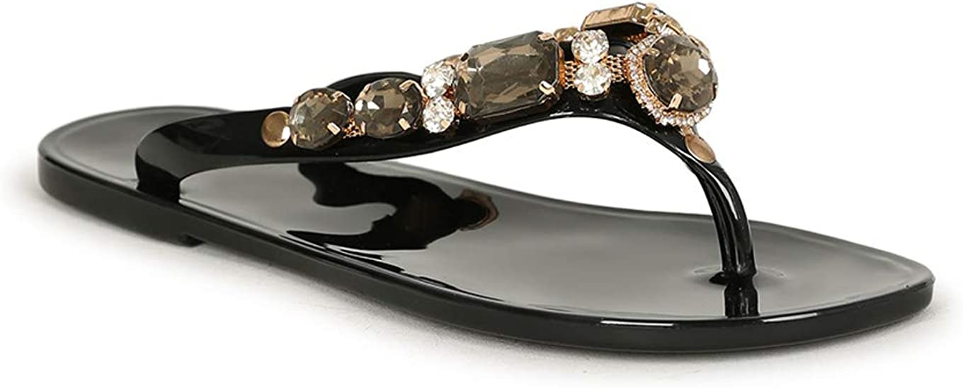 Vigo sold out Fiore Jeweled T-Strap Jelly Flat Black quality assurance Sandal Size 20175 -