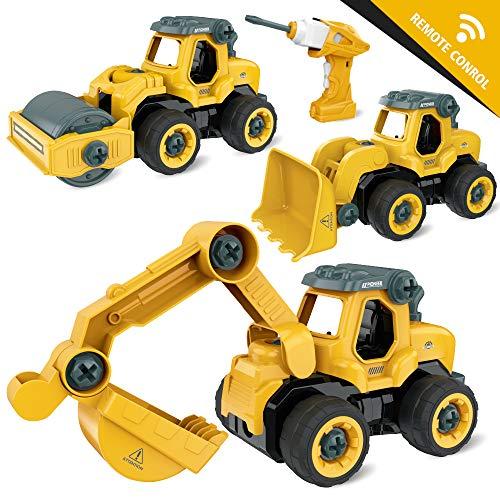 GizmoVine Bagger Spielzeug ,3 In 1 Ferngesteuertes Montage Baufahrzeug Autos,Sandkasten Spielzeug ,DIY Spielzeugauto mit Bohrmaschine,Licht und Sounds für Jungen & Mädchen 3 4 5 6 7 8