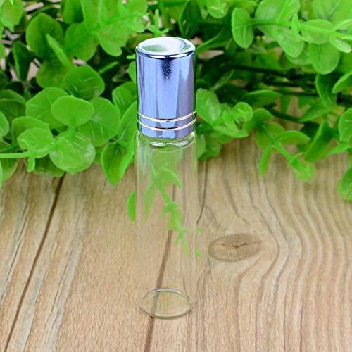LASISZ Bouteille de Parfum en Verre à Bille d'huile Essentielle 10ML Femmes Lady Travel Clear Roller Bouteille Rechargeable, Bleu, 10ml