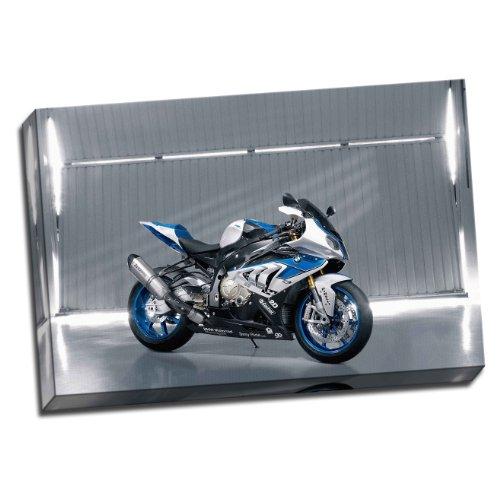 Grande stampa su tela con immagine di moto BMW HP4, 50,8 x 76,2 cm, formato A1