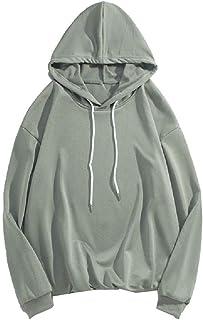 HEFASDM Men Pure Colour Loose Fit Hooded Pullover Hoodie Hooded Sweatshirt