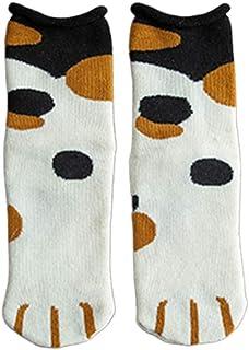 Xiuinserty calcetines pantuflas para mujer de invierno bucle grueso toalla de tripulación, calcetines de gato estampados calentitos calentitos de algodón 5