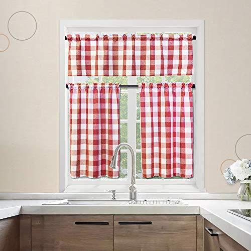 "3 Pc Cotton Classic Country Farmhouse Kitchen Window Curtain -Red & White Buffalo Check Tier & Valance Set, 54"" x 18"" / 27"" x 36"""