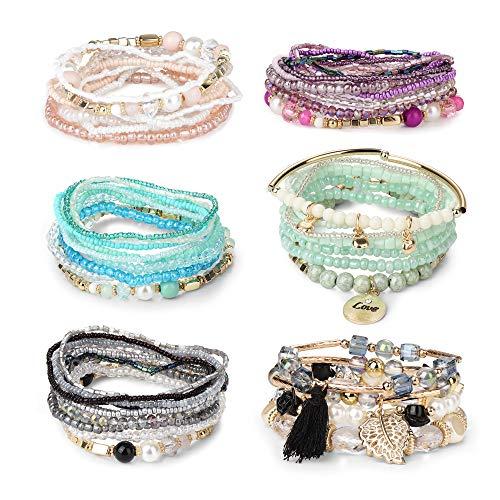 FIBO STEEL 6 Sets Bohemian Stackable Bead Bracelets for Women Girls Stretch Multilayered Bracelet Set Multicolor Jewelry (C: 6 Sets)