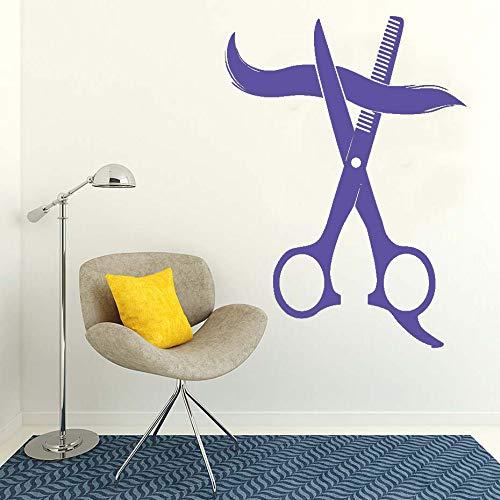 Decoración del hogar salón de belleza gran tijera salón de peluquería vinilo arte calcomanía peinado etiqueta de la pared extraíble para barbería papel pintado ~ 1 58 * 80 cm