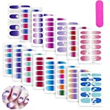 15 Sheets Nail Stickers, Full Nail Wraps Gradient Glitter Self-Adhesive Nail Polish Strips Nail Art Tips Stickers with Nail File False Nail Design Manicure Stickers Set for Women Girls