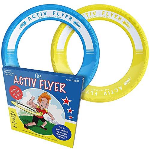 Anillos voladores Activ Life para niños [Amarillo/Cian]. Regalo de cumpleaños más Popular para niños de 3+. Juguete Volador definitivo para Vacaciones en la Playa, Parques, recreos y Piscinas.