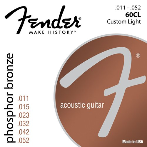 Fender 60CL Acoustic Guitar Phosphor Bronze Ball End Strings, 11-52