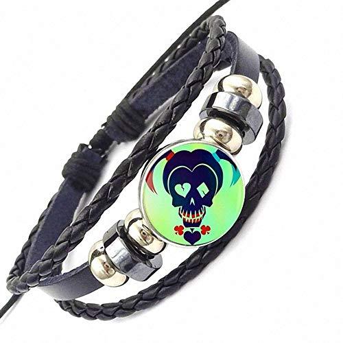 Herrenarmband Harley Quinn Commando Suizid Joker Persönlichkeit Glas Schwarz Leder Armband Schmuck Für Mädchen Statement Maxi Halskette