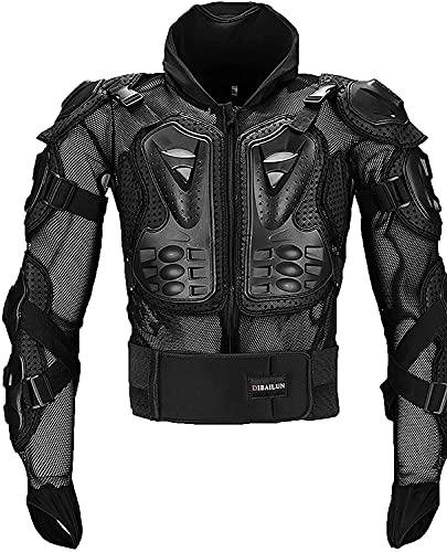 TKTTBD Armor Set Giacca Protettiva per Adulti, per Sci, Snowboard, Motocross, Quad, BMX, Nero Completo Moto Sportivo Professionale per Uomo Cappotto Nero C,XL