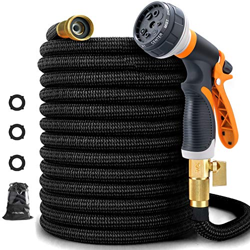 100ft Garden Hose, Expandable Leakproof, Durable Lightweight, Flexible Expanding, Double Latex Core, 3/4 Solid Brass Fittings, Extra Strength Fabric, 8 Function Spray Nozzle Water Hose (100FT)