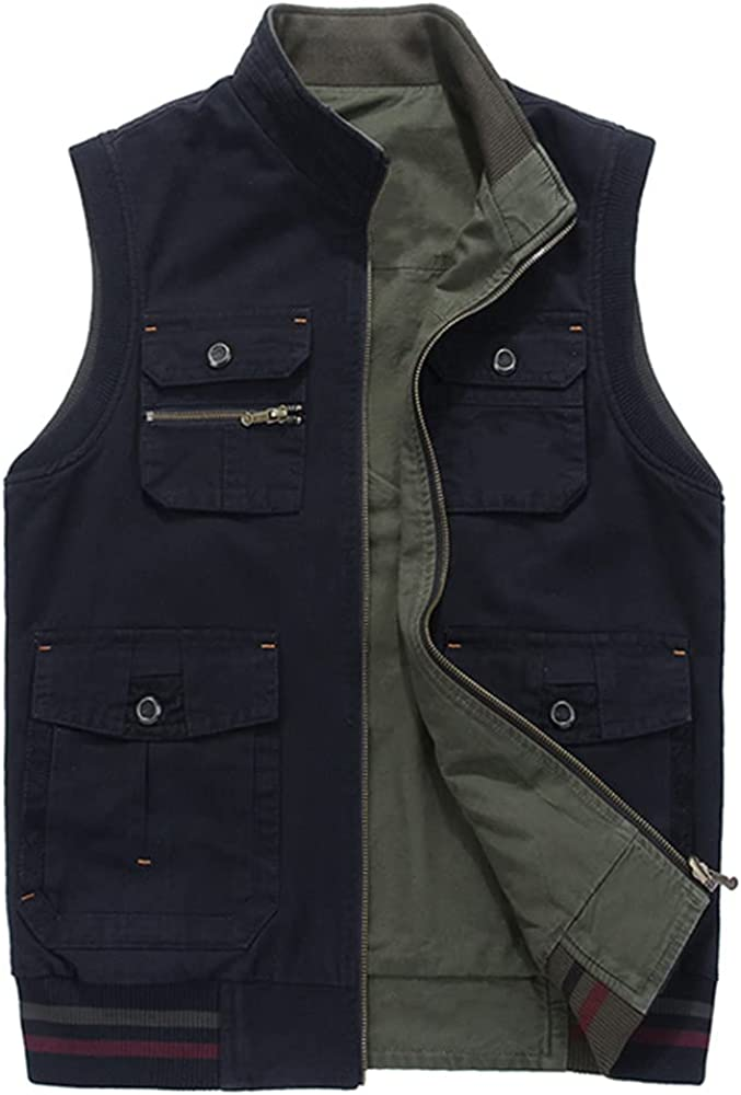Big Double-Sided Wear Clothing Autumn Mens Vests Sleeveless Casual Multi Vest