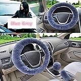 JIAL Universal-Lenkrad-Plüsch-Auto-Lenkrad-Abdeckungen Winter-Faux-Pelz-Handbremse & Getriebe-Abdeckung Set Auto Innen-Zubehör (Farbe: grau) Chongxiang (Color : Gray)
