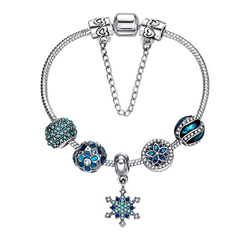 Presentski 925 Silver Plated Romantic Blue Snowflake Fashion Charm Bracelet with CZ Night Stars Flowers Hearts, Christmas Gift for Teen Girls, 7.1 Inches (18 cm) Snake Chain