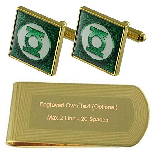 Green Lantern Gold-Manschettenknöpfe Geldscheinklammer Gravur Geschenkset
