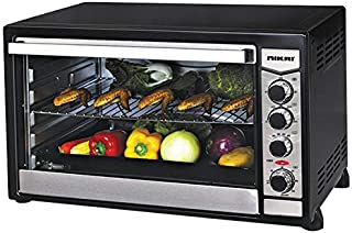 Nikai 100 Liters Electric Oven & Toaster, Black with Silver Door - NT6500SRC1, 1 Year Warranty