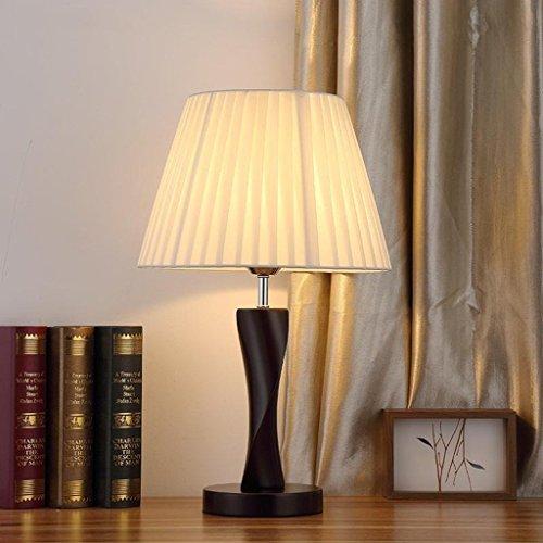 ILQ Lampe de table simple moderne, lampe de chevet en bois, petite veilleuse, interrupteur à bouton, E27, 220V, 30 * 30 * 48.5Cm,Abat-jour plissé