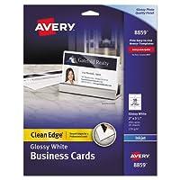 """Averyクリーンエッジビジネスカード–2"""" x 3.5""""–光沢–200/パック–ホワイト"""