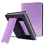 CoBak Kindle Paperwhite Case with Stand - Durable PU Leather Smart Cover with Auto Sleep Wake, Hand Strap Feature, ONLY Fits All New Kindle Paperwhite 10th Generation 2018 Released,Purple Glitter