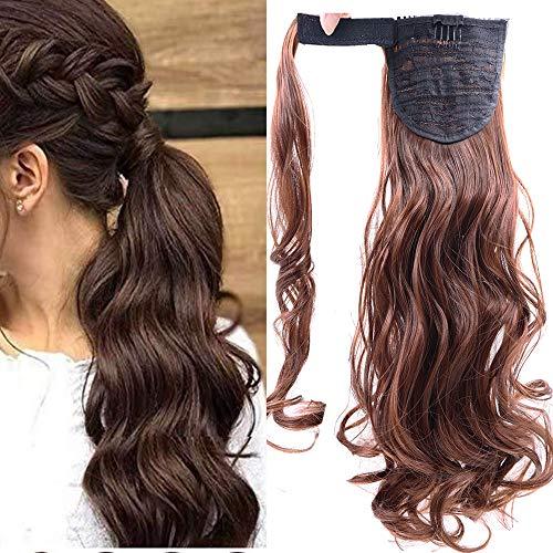 Cybelleza Clip in Ponytail Extensions Pferdeschwanz Haarverlängerung Haarteil Zopf günstig wie Echthaar Gewellt Haarverdichtung (Dunkles Kastanienbraun)
