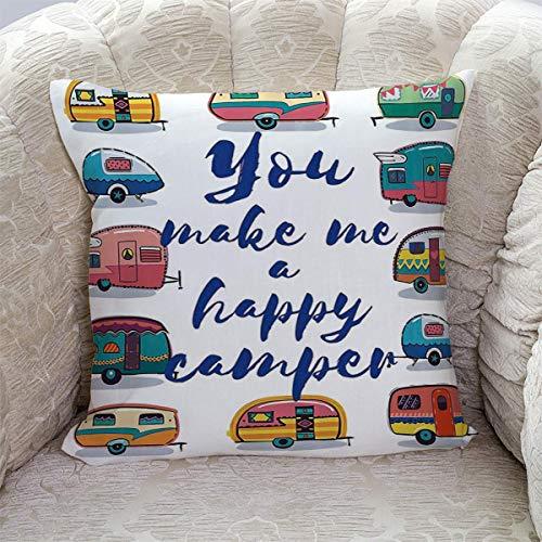 Dekorativer Überwurfkissenbezug Du machst mich glücklich Camper Motivationszitat mit Retro Caravans Kissenbezug Quadratischer Kissenbezug Superweicher Kissenbezug aus gebürstetem Stoff für das Sofa-Be