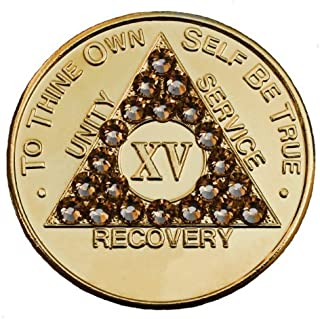 Girly Girl 15 Year Gold Plated Coin with Gold Swarovski Crystals Alcoholics Anonymous Medallion- AA Sobriety Chip (15 year shown)