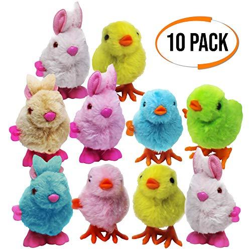 THE TWIDDLERS 10 Juguetes Suaves de Cuerda Rápida - Pollitos y Conejos de Pascua - 4 Colores Surtidos Rellenos de piñata -Juguetes de interior ideales para niños, para horas de juego y entretenimiento