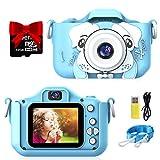 semai Kinder Kamera, Kinder Digital Kamera Wiederaufladbar, Kinder Selfie Kamera mit 2 Zoll IPS Bildschirm, 32GB Micro SD Karte,Video Camcorder Fotokamera für 3-12 Jahre Alte Mädchen Jungen(Blau)