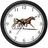 WatchBuddy Harness Horse or Sulky Horse or Standardbred & Sulky (Buggy) with Driver Racing Wall Clock Timepieces (Black Frame) -  WatchBuddy Timepieces