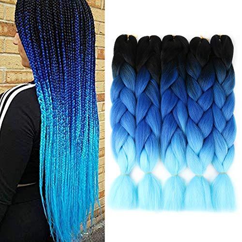 5 Stück Jumbo Braids Hair Kanekalon Kunsthaar zum Flechten von Haarverlängerungen Crochet Braids 24inch Jumbo Braiding Hair (5Pcs, Black blue l blue)