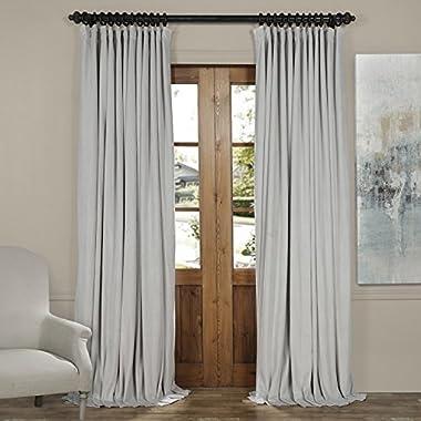 HPD HALF PRICE DRAPES VPCH-VET160401-96 Signature Doublewide Blackout Velvet Curtain,Reflection Grey,100 X 96