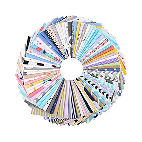 , Patchwork de tela de algodón de sarga floral, geométrica y de dibujos animados al azar, para acolchado y costura de bricolaje, material de cuartos gordos, 20x25cm-B Geometry 20cmx25cm-40pcs One Bag