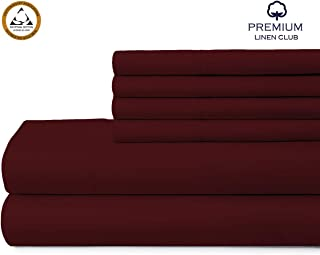 Premium Club Linen, 1000 Thread Count, 100% Pure Egyptian Cotton Sheet Set – Extra Soft, Luxury Finish – Smooth and Silky Sateen Weave Long-Staple Combed Egyptian Cotton – 6 Piece Set – Burgundy,Queen