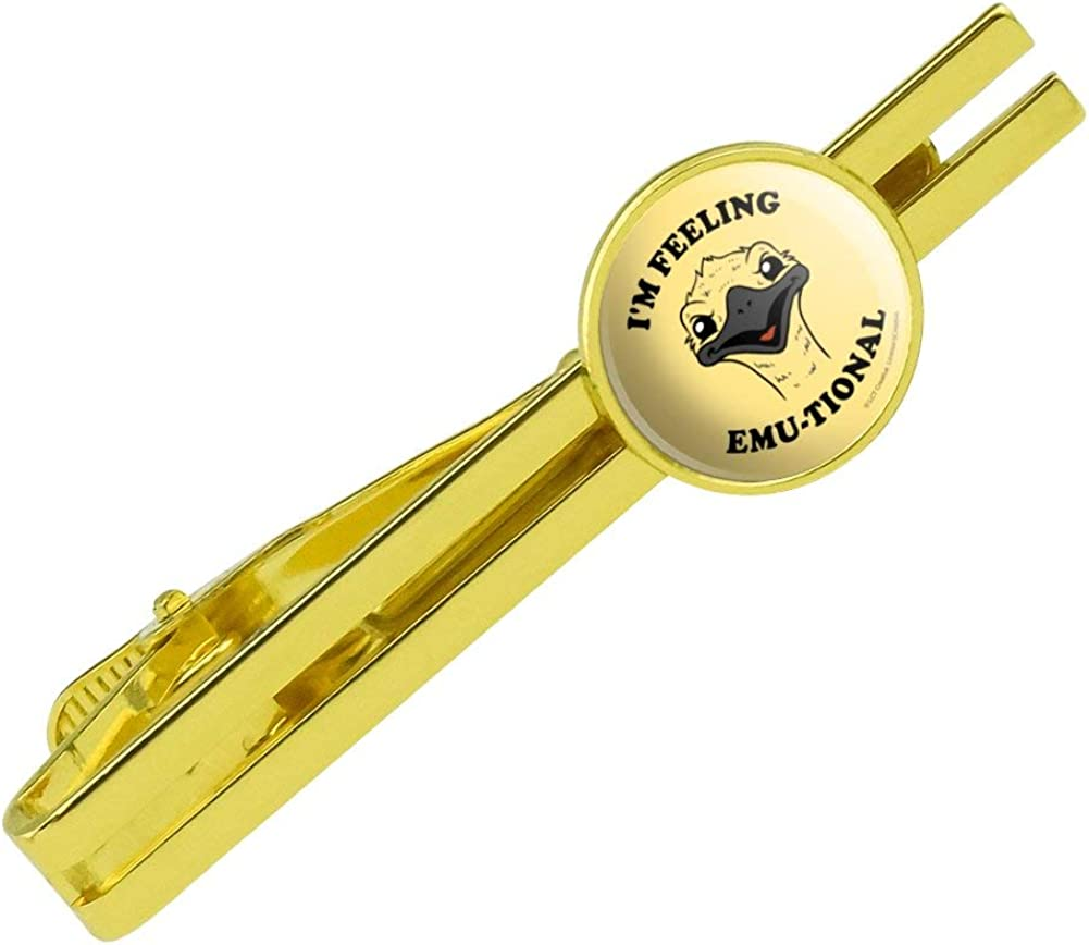 GRAPHICS & MORE I'm Feeling Emu-tional Emotional Emu Funny Humor Round Tie Bar Clip Clasp Tack Gold Color Plated