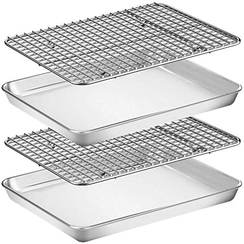 Baking Sheet with Rack Set [2 Pans + 2 Racks], Wildone Stainless Steel Cookie Sheet Baking Pan Tray with Cooling Rack, Size 12 x 10 x 1 Inch, Non Toxic & Heavy Duty & Easy Clean