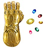 Infinity Gauntlet, Infinity War PVC Gloves with 6 Separable LED Stones-3 Flash Mode Removable Stones Golden gauntlet for Halloween Party Prop