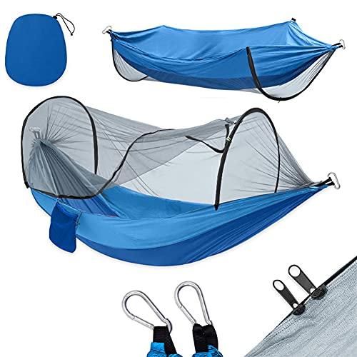 EEYZD Hamaca de Camping con Mosquito Red, Tela de paracaídas Camping Hamaca portátil de Nylon Hamaca para Viajes de Campamento de mochilero, hamacas Dobles para Acampar 102'* 55.5',Royal Blue