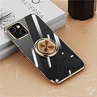 iPhone 13 Pro Max ケース リング付き 透明 アイホン 13 Pro Max ケース クリア TPU 耐衝撃 カバー メッキ おしゃれ スタンド機能 防塵 薄型 軽量 変形防止 全面保護カバー iPhone 13 Pro Max 6.7インチ アイフォンケース (ゴールド)