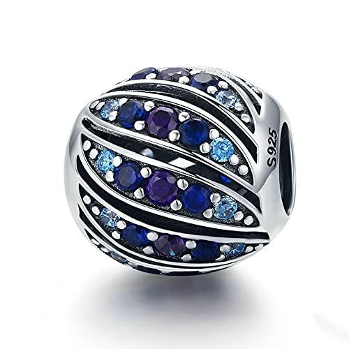 LIJIAN DIY 925 Sterling Jewelry Charm Beads Pluma De Pavo Real Real Cristal Azul Hacer Originales Pandora Collares Pulseras Y Tobilleras Regalos para Mujeres