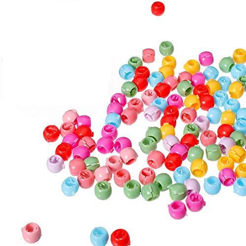 FOGAWA 100 Stücke Mini Haar Klammer Mini Haarclips Haarspangen Pony Bunte Perle Haar Nadeln Schellen Haarklammer Clips Regenbogen Perlen Clip für Kinder Mädchen Frauen