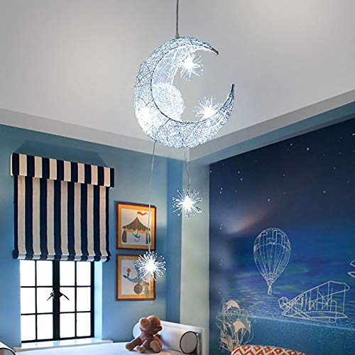 lampadario camera da letto Lampadario a LED plafoniera luna e stella lampadario in ferro lampadario bianco caldo camera da letto decorazione soggiorno (Luce fredda)