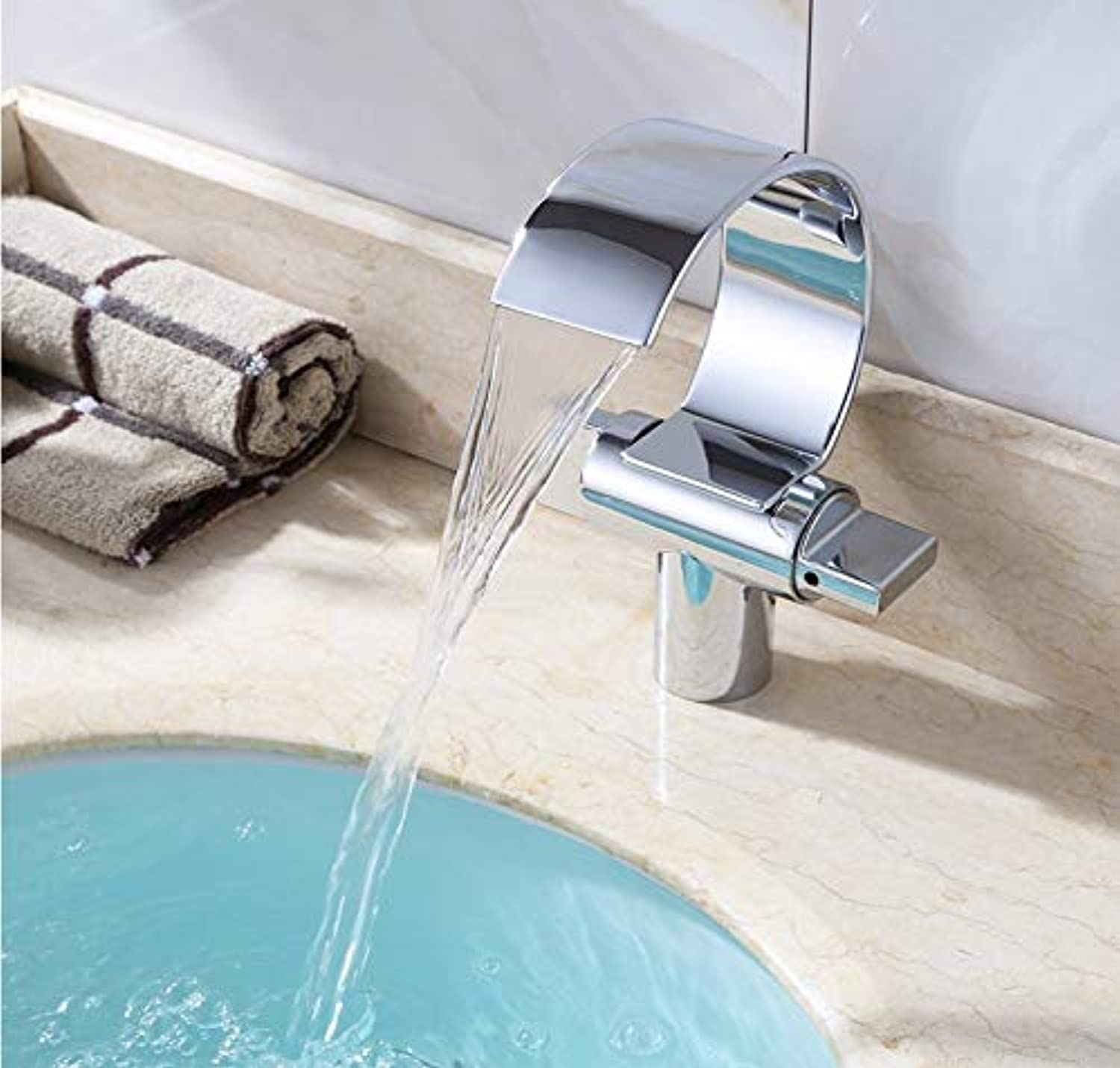 ROKTONG Unique Modern Flat Mouth Waterfall Bathroom Mixer Tap Vessel Sink widespread Faucets Semi-moon Chrome Finish Bath tub Basin Vanity faucets Two handles Brass Lavatory faucets