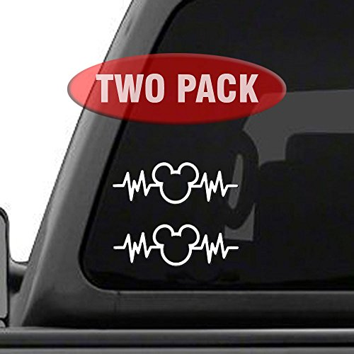 Mickey Mouse Heartbeat 2PK - 6' Car Truck Vinyl Decal Art Wall Sticker Disney Fun Adorable Cute Life