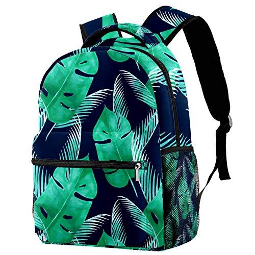 Mochila de viaje con diseño de hojas verdes tropicales, color azul marino, mochila de viaje informal para mujeres, adolescentes, niñas y niños
